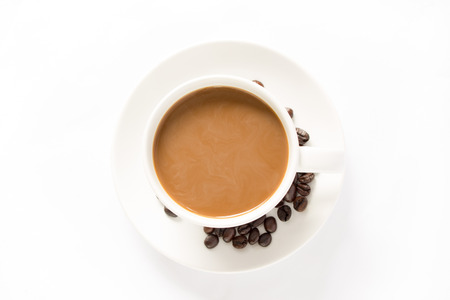 mocca: Top view coffee cup and beans isolated on a white background.
