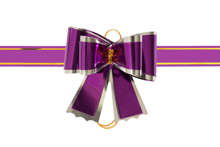 purple bow on a white background.Holidays decoration.