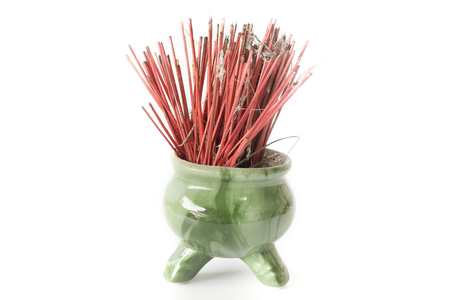 Incense pot with white background. Stock Photo