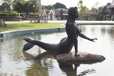 Rayong, Thailand -Aug 22.2017 : Female Mermaid statue  in rayong Thailand Editorial