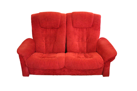 living room sofa: red sofa Isolated on white background Stock Photo
