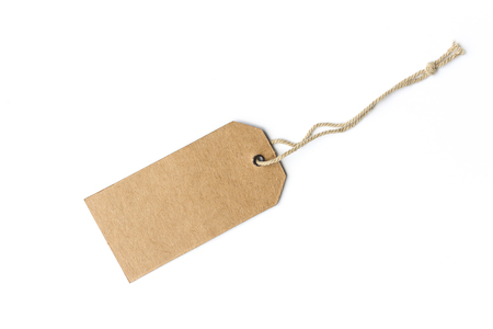 Blank tag tied with string. Price tag, gift tag, sale tag