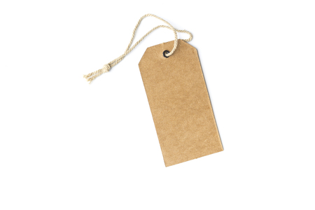 Blank brown price tag isolated white background.