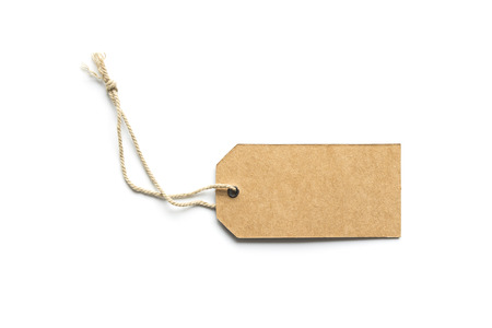 brown cardboard price tag or label isolated white background. 版權商用圖片