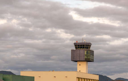 View of an air traffic control tower at the military and mixed unit of the city of Santa Maria, RS, Brazil. Civil and military aircraft control infrastructure.