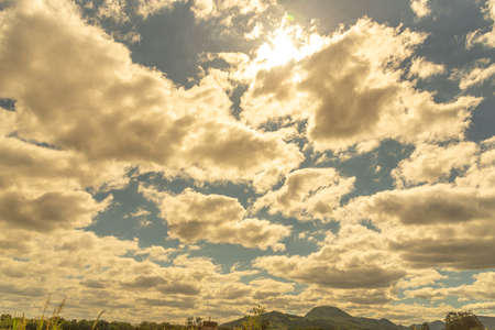 Sky and clouds on a sunny blue summer afternoon in southern Brazil, agricultural production area in the region of Santa Maria, state of Rio Grande do Sul.