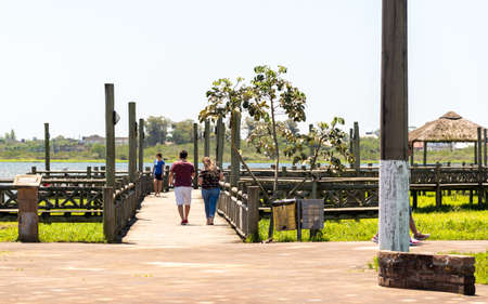 View from the shore of Marcelino Lagoon in the tourist and seaside town of Osorio, Rio Grande do Sul State, RS, Brazil, Tourism in Latin America. City of the gaucho north coast. Imagens