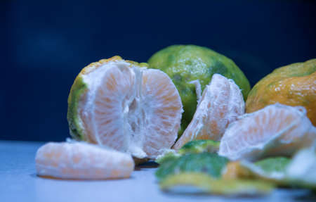 Bergamot fruits (Citrus reticulata). A citrus fruit of small size and similar to a pear, as well as the essential oil extracted from the peel of its fruit; Tropical fruit