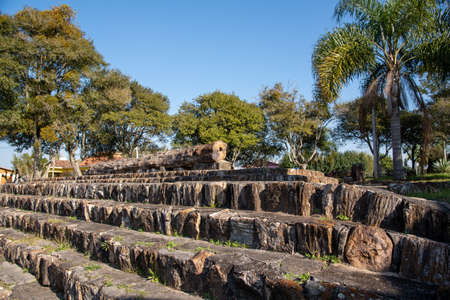 """Petrified wood in the city of Mata, RS, Brazil, known as """"the city of stone that was wood"""". The structures were all made of wood about 200 million years ago."""