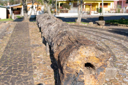"Petrified wood in the city of Mata, RS, Brazil, known as ""the city of stone that was wood"". The structures were all made of wood about 200 million years ago."