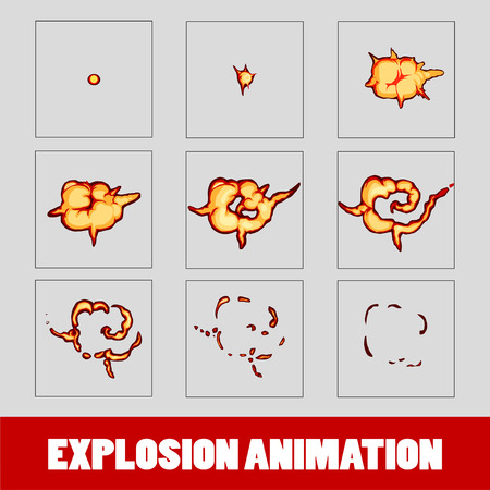 Explosion, Cartoon Explosion Animation Frames For Game. Sprite ...