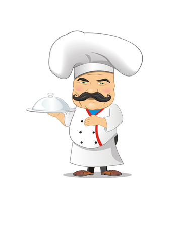 Chef vector illustration for animation, games, different poses, kitchen, food, gastronomy, taste, smell, cooking recipes