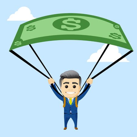 manager character with parachute out of the dollar. manager character or businessman flying with parachute