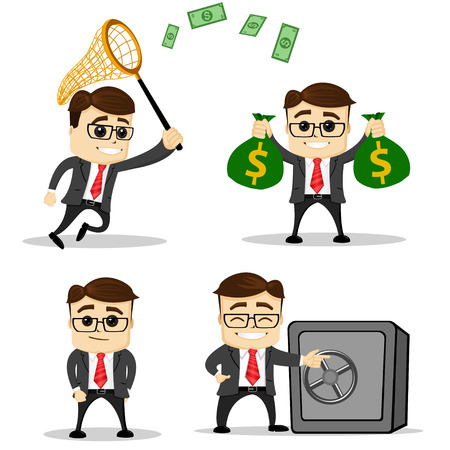 Set of cute characters businessman and office worker poses. Illustration