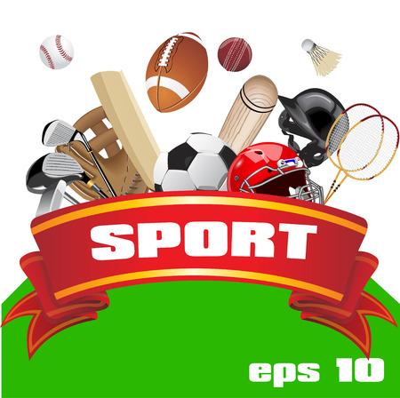 equipment: Set of sport equipment. Sport equipment Illustration