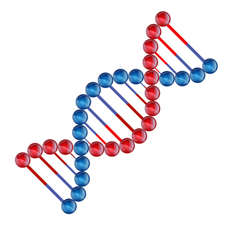 strand: color illustration DNA icon flat, abstract DNA strand symbol. Isolated on white background. Illustration