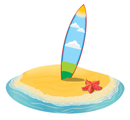 surfboards: Sea landscape summer beach, surfboards stuck in the sand. Beach of the sea to the island in the distance in summer vacation. Surfboards set. Surfboards collection. Illustration