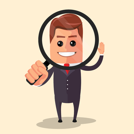 Manager character looking through a magnifying glass. Cartoon character - manager with loupe. Vector flat design illustration.