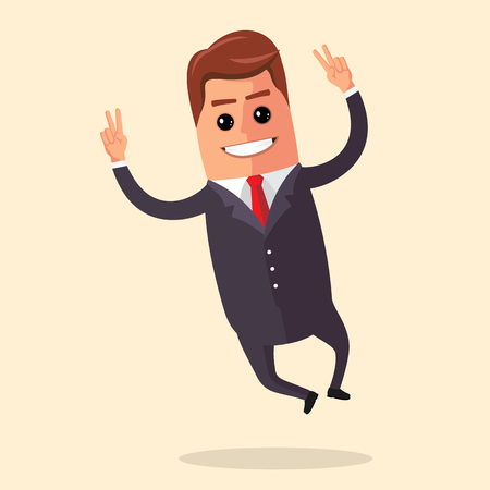 bounces: Vector illustration. Manager character is jumping. Smiling businessman rejoices and bounces. Happy business man. Illustration