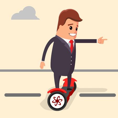 segway: Vector illustration. Businessman riding on a segway. Manager character on a segway. Character of a businessman using segway.