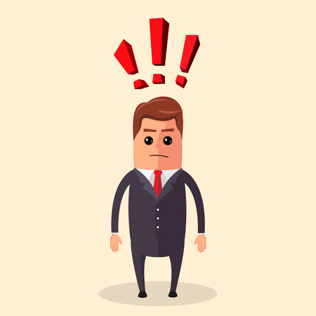 Flat illustration. Manager character or businessman having a question and a lot of exclamation marks. Manager character is thinking about of something. Funny cartoon businessman in various poses for use in presentations, etc.