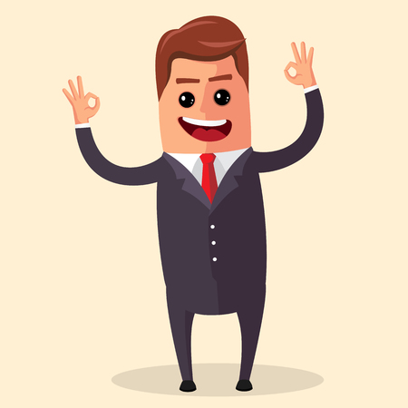 open arms: Manager character happy and with open arms, smiling broadly. Funny cartoon businessman in various poses for use in presentations, etc.