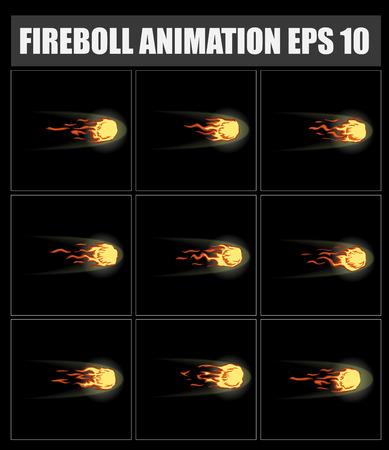 sprite: vector fireball animation. Sprite sheet for game or cartoon. Bonfire.