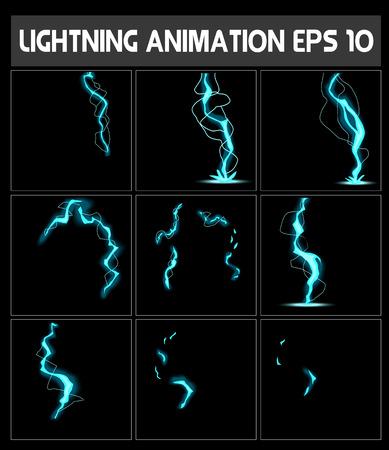 sprite: WebLightning animation. Game animation of lightning. Game animation. Sprite sheet for game or cartoon