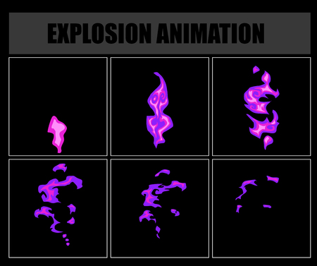 ire: Fire sprites or animation frames icons. Use in game development, mobile games or motion graphic. Vector illustration Illustration