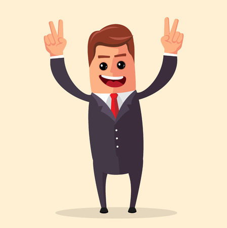 open arms: Manager character happy and with open arms, smiling broadly.