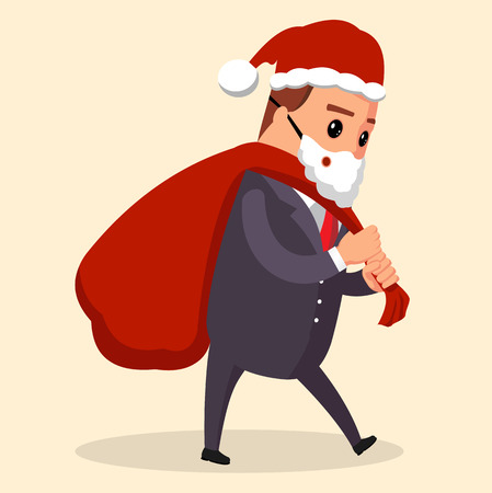vector manager or businessman Santa Claus is handing out gifts
