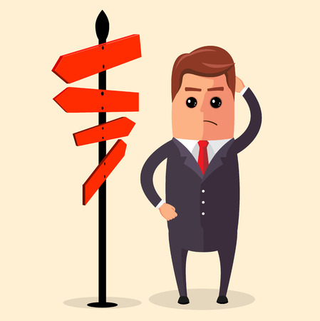 certainty: Vector illustration of business strategy. Businessman or manager have to choose between different routes. He is looking on a road sign with directions