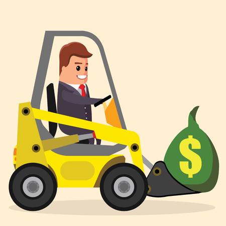 fork lifts trucks: Vector businessman or manager driving a loader. Illustration