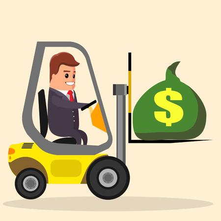 fork lifts trucks: Vector businessman or manager driving a forklift. Flat illustration.