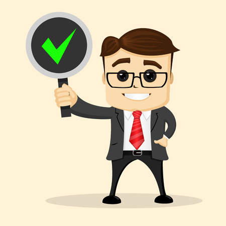 bussinesman: Bussinesman or manager character smiling and standing with a sign in one hand. Vector flat illustration. Illustration