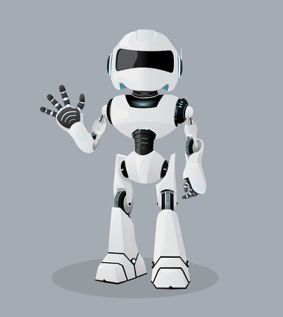 Vector realistic illustration of the white robot. One hand up. Illustration
