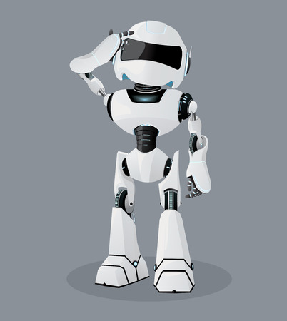 Vector realistic illustration of the white robot. Vector robot on the gray background. Illustration