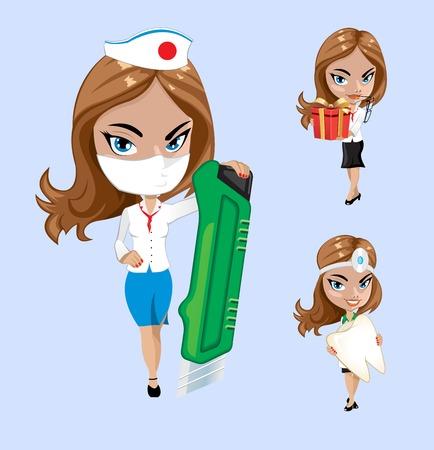 internist: Vector illustration. Set of doctors or nurse in different poses. Illustration