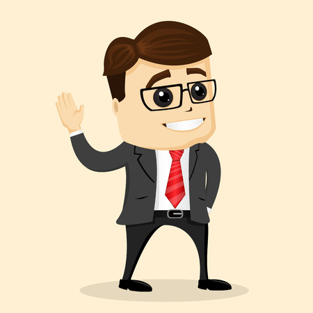 pensador: Vector flat illustration. Businessman or manager smiling and greating. Vectores