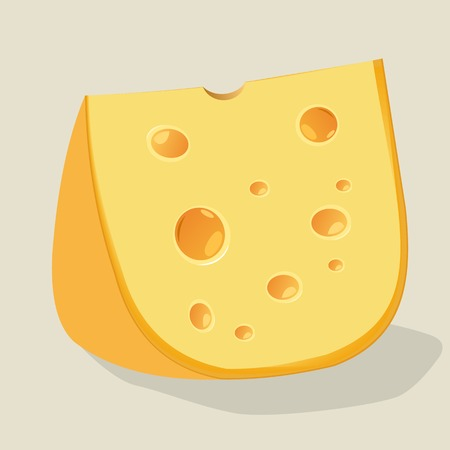 holes: piece of cheese with holes. Vector Illustration. Stock Photo