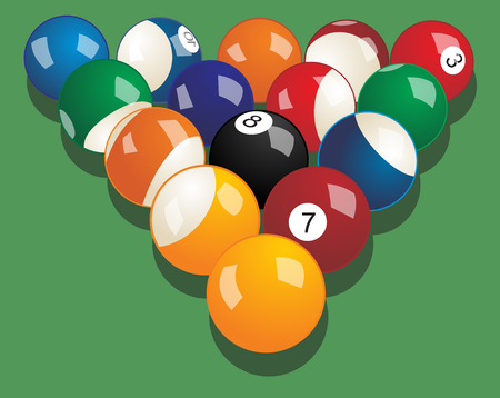 Set of billiard balls. Vector realistic illustration.