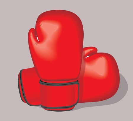 combative: Red vector boxing gloves. Realistic illustration. Illustration