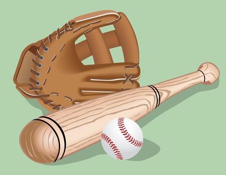 Baseball equipment: a bat,  ball and  helmet. Vector realistic illustration. Illustration