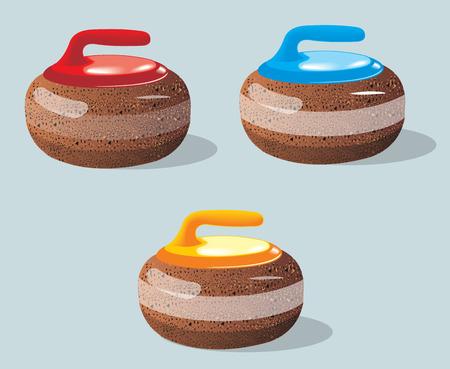 ice slide: Curling stones, sport game. Ice. Rink. Vector illustration.