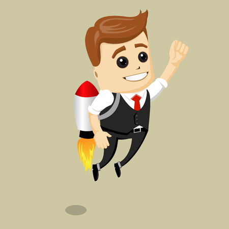 Vector business man fly on the rocket. Flying businessman with jetpack. Manager character is happy and successful.