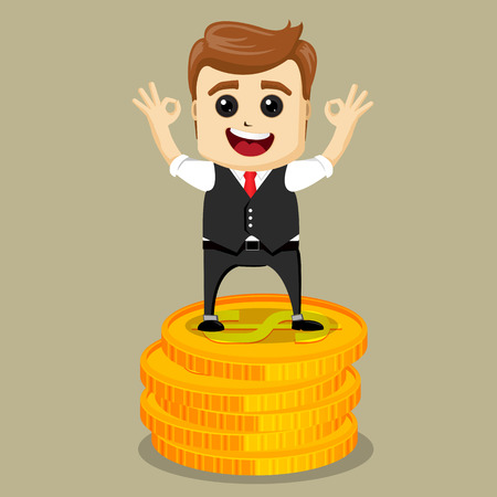 Vector business man with prize. Victorious Businessman. Successful manager character.