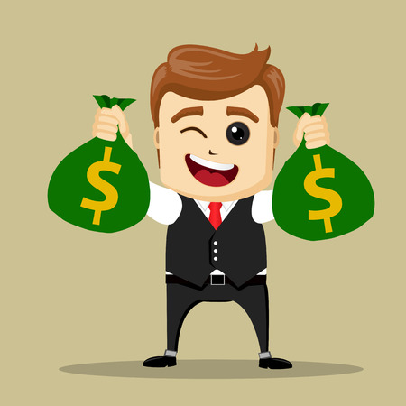 stock market launch: Vector businessman with bags of money. Business man or manager character successful. Illustration of cartoon businessman.
