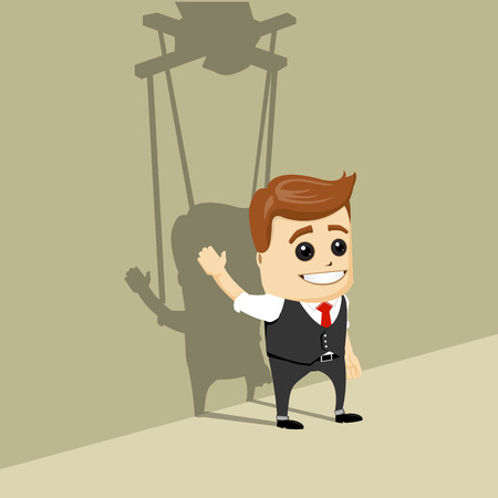 domination: Vector businessman as a puppet.
