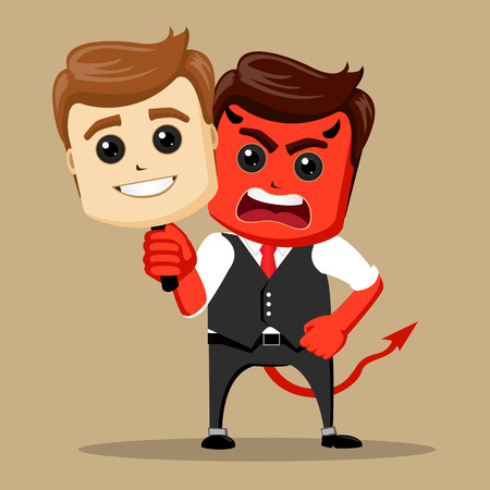 Vector businessman with two faces mask. Angry character with happy mask. Manager character as a devil. Stock Photo