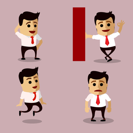 Vector set of manager or business man character. Illustration